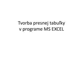 Tvorba presnej tabuľky  v programe MS EXCEL