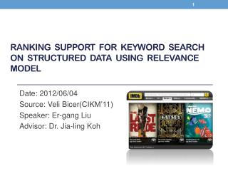 Ranking   support  for  keyword  search  on  structured  data  using  relevance  model