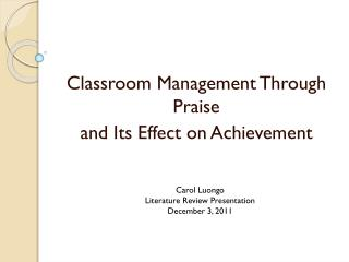 Classroom Management Through Praise  and Its Effect on Achievement