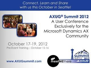 Connect, Learn and Share  with us this October in Seattle!