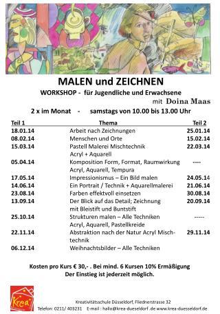 MALEN und ZEICHNEN WORKSHOP -  für Jugendliche und Erwachsene mit   Doina Maas