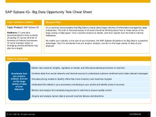 SAP Sybase IQ –  Big Data Opportunity Tele  Cheat Sheet