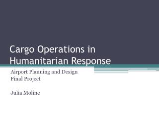 Cargo Operations in Humanitarian Response