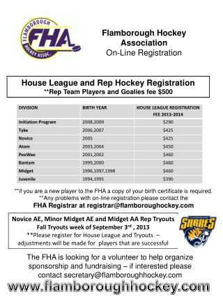 Flamborough Hockey Association On-Line Registration