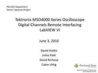 Tektronix MSO4000 Series Oscilloscope  Digital  Channels  Remote  Interfacing LabVIEW  VI