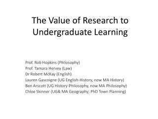 The Value of Research to Undergraduate Learning