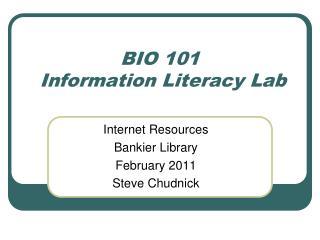 BIO 101  Information Literacy Lab