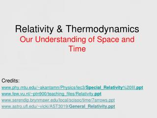 Relativity &  Thermodynamics Our Understanding of Space and Time