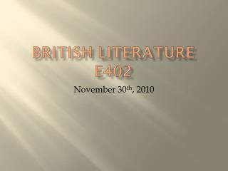 British Literature E402