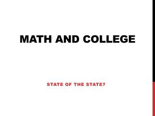 Math and College