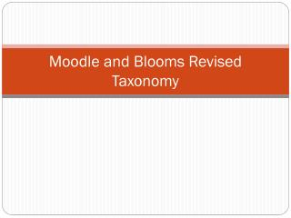 Moodle  and Blooms Revised Taxonomy