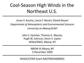 Cool-Season High Winds in the Northeast U.S.