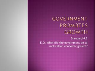 Government promotes Growth