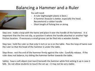 Balancing a Hammer and a Ruler