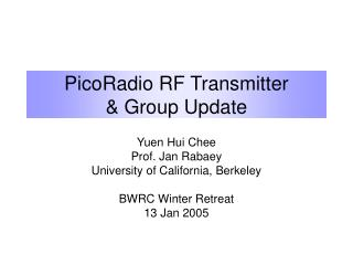 PicoRadio RF Transmitter