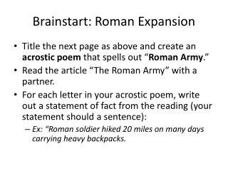 Brainstart: Roman Expansion