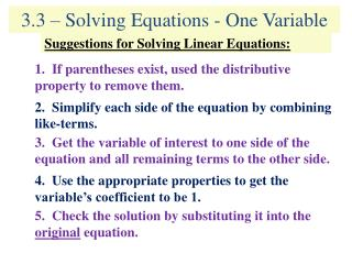 3.3 – Solving Equations - One Variable
