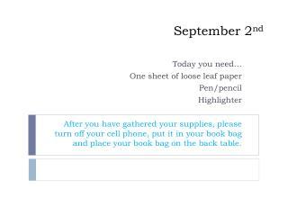 September 2 nd