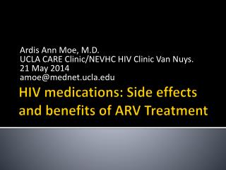 HIV medications: Side effects and benefits  of ARV Treatment
