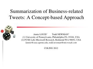 Summarization of Business-related Tweets: A  Concept-based Approach