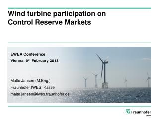 Wind turbine participation  on Control  Reserve Markets