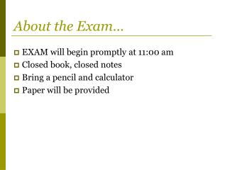 About the Exam�