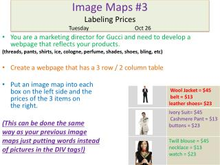 Image Maps #3 Labeling Prices TuesdayOct 26