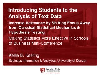 Introducing Students to the Analysis of Text Data