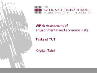 WP 4:  Assessment of environmental and economic risks Tasks of TUT