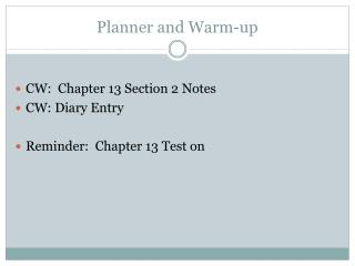 Planner and Warm-up