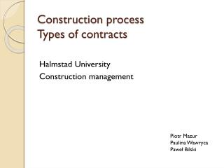 Construction  process Types  of  contracts