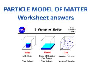 PARTICLE MODEL OF MATTER Worksheet answers