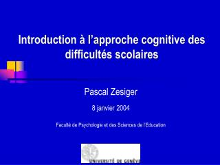Introduction   l approche cognitive des difficult s scolaires