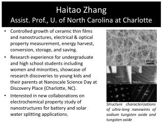 Haitao Zhang Assist. Prof., U. of North Carolina at Charlotte