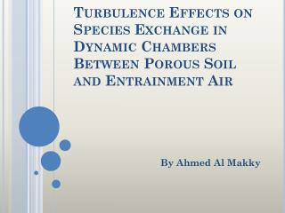 Turbulence Effects on Species Exchange in Dynamic Chambers Between Porous Soil and Entrainment Air