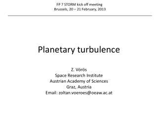 Planetary turbulence