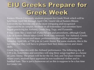 EIU Greeks Prepare for Greek Week