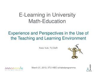 E-Learning in University  Math-Education