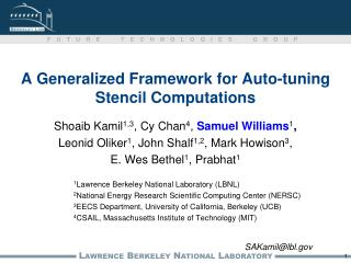 A Generalized Framework for Auto-tuning Stencil Computations