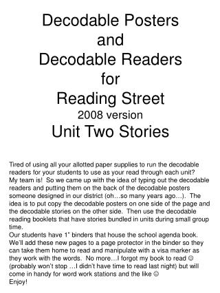 Decodable Posters  and  Decodable Readers  for  Reading Street  2008 version Unit Two Stories