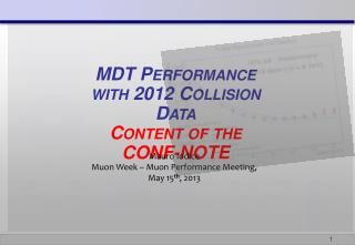 MDT Performance  with 2012  Collision  Data Content of the CONF-NOTE