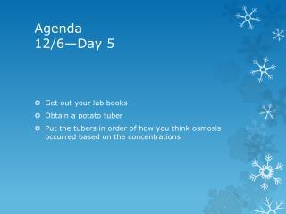 Agenda 12/6—Day 5