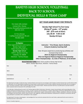 Volleyball Camp Flyer