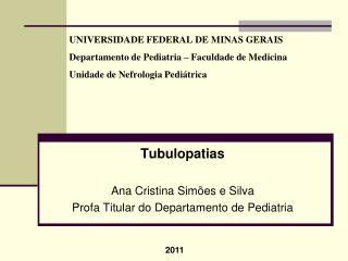 Tubulopatias Ana Cristina Simões e  Silva Profa  Titular do Departamento de Pediatria