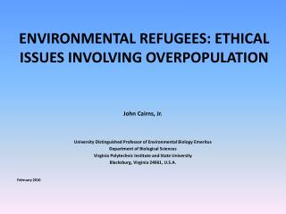 ENVIRONMENTAL REFUGEES: ETHICAL ISSUES INVOLVING OVERPOPULATION