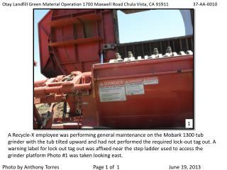 Otay Landfill Green Material Operation 1700 Maxwell Road Chula Vista, CA 91911         37-AA-0010