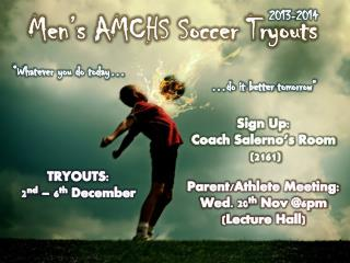 Men's AMCHS Soccer Tryouts