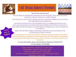 14U  Texas Jokers  Tryouts