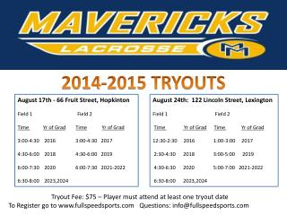 2014-2015 TRYOUTS