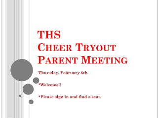 THS Cheer Tryout Parent Meeting